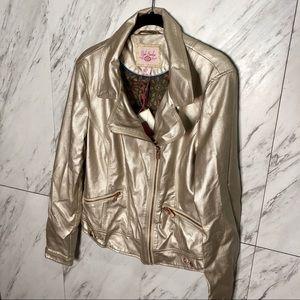 BRAND NEW Pink Envelope Gold Moto Jacket SZ L